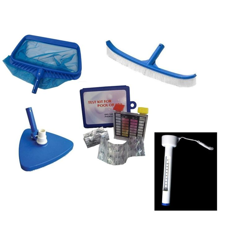 6-Piece Deluxe Swimming Pool (Blue) Kit - Vacuum Leaf Rake Brush Pole and Hose Hooks Thermometer and Test Kit