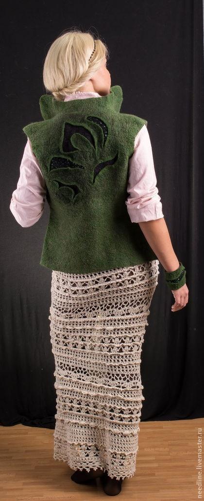 "Felted vest. Ярмарка Мастеров - ручная работа валяный жилет ""Лесная история"". Handmade."