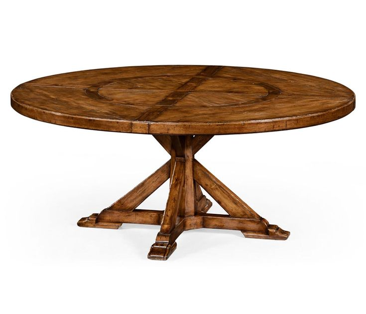 Country Style Walnut Round Dining Table Inbuilt Lazy Susan 72 X 30