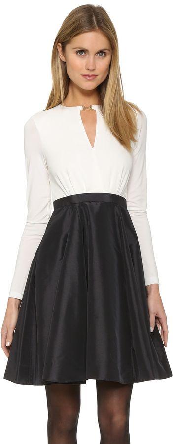 Halston Heritage Colorblock Dress with Taffeta Skirt