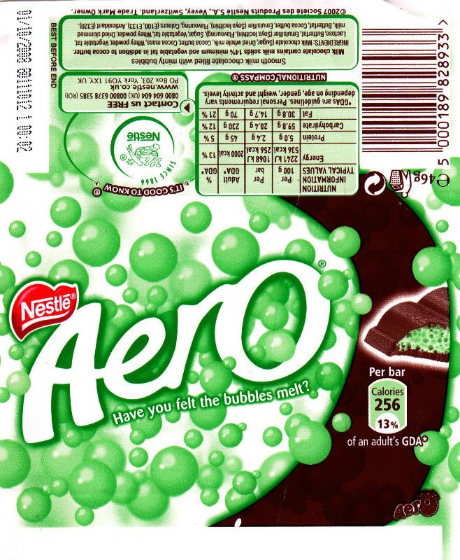 Aero chocolate, Chocolate bar wrappers and Bar wrappers on ...