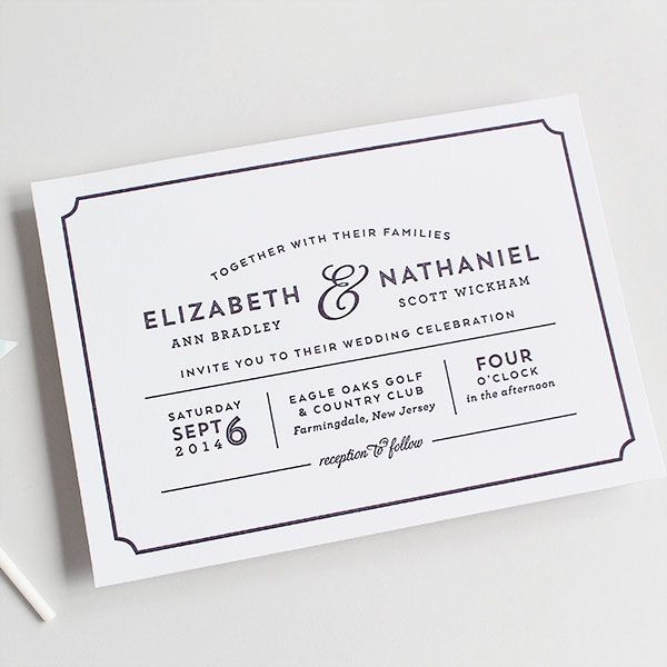 Modern, playbill wedding invitation letterpress or digital | Sandra Picco Design, LLC