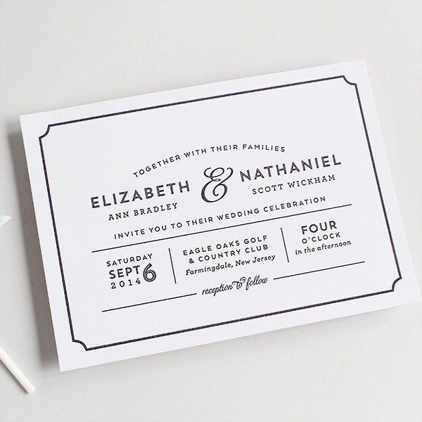 Modern, playbill wedding invitation letterpress or digital | Sandra Picco Design, LLC