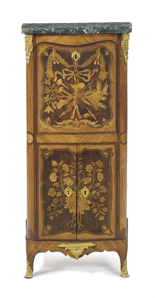 A LATE LOUIS XV ORMOLU-MOUNTED TULIPWOOD, BOIS SATINE AND MARQUETRY SECRETAIRE A ABATTANT -  PROBABLY BY NICHOLAS PETIT, CIRCA 1765 AND REMOUNTED