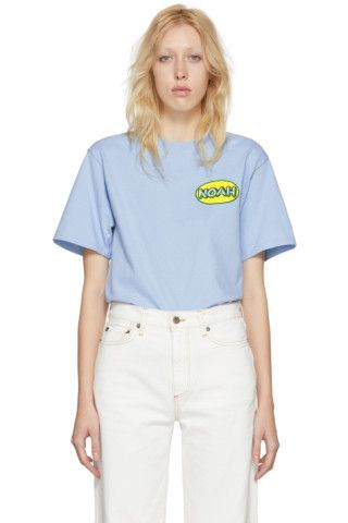 Noah NYC: Blue Delivery Logo T-Shirt | SSENSE UK