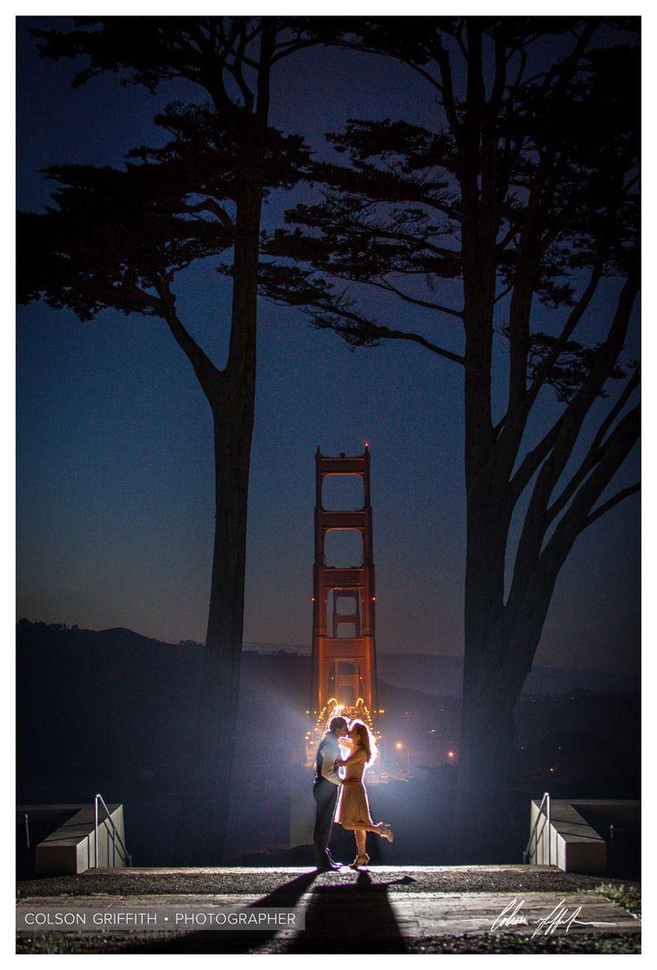 San Francisco Palace of Fine Arts Engagement Portrait Session at the Golden Gate Bridge