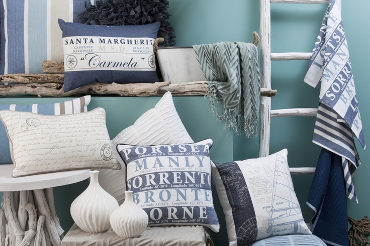 Blue and white home textile by Madras Link