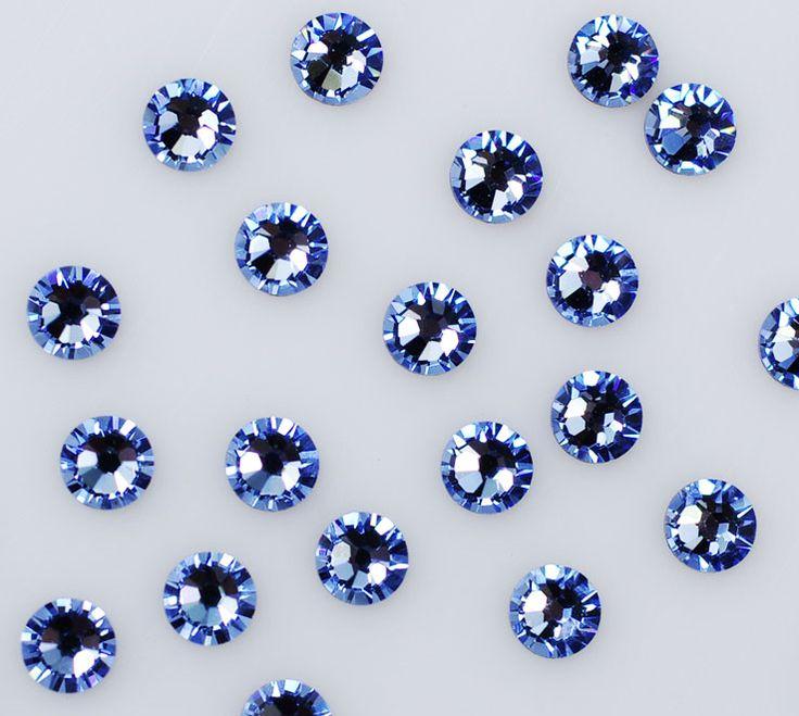1440PC SS6 2mm Crystal Blue / LT.Sapphire Non Hotfix Flatback Rhinestones Nail Rhinestoens For Nails 3D Nail Art Decoration Gems