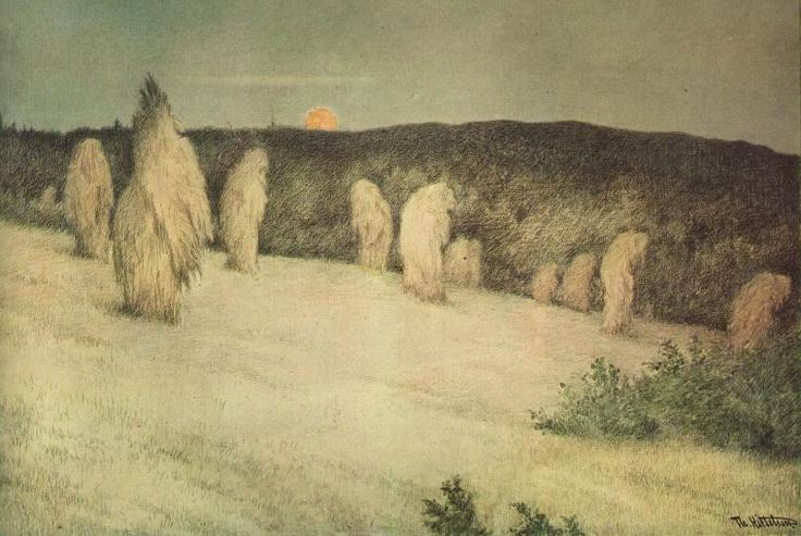 File:Theodor Kittelsen - Kornstaur i måneskinn, ca 1900 (Stooks of Corn in Moonlight).jpg - Wikimedia Commons
