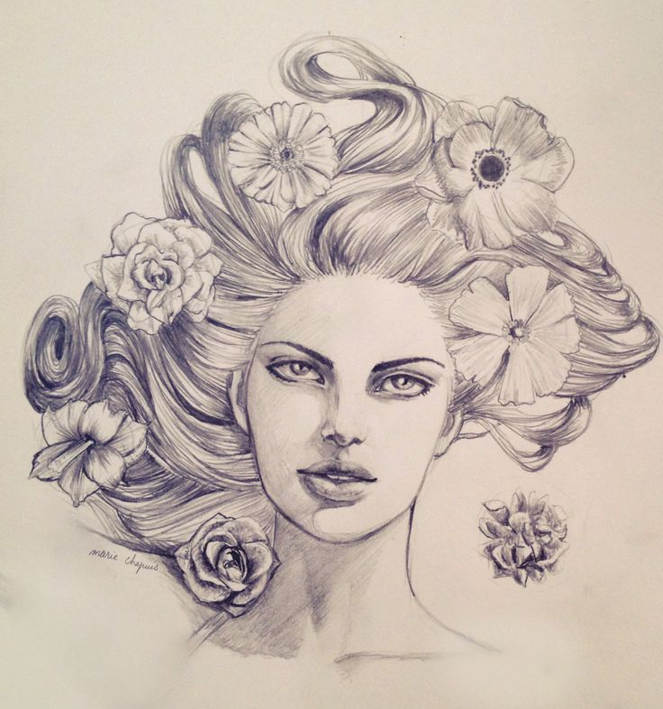 Woman Beauty Face Hair Flowers Pencil Drawing Illustration