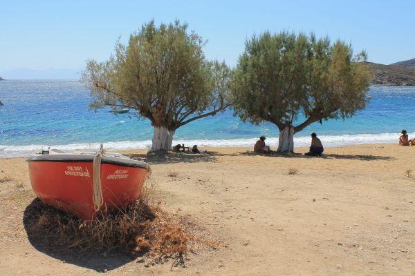 Boat at the beach of Livadakia