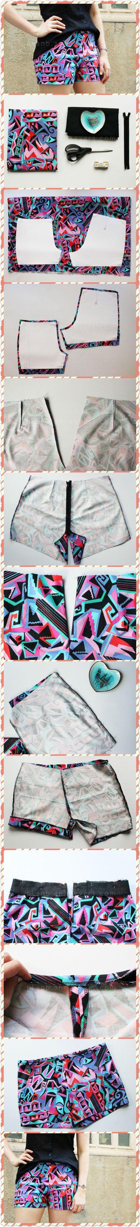 DIY shorts (free pattern, small/med size). 2 piece pattern. Zipper, no pockets.