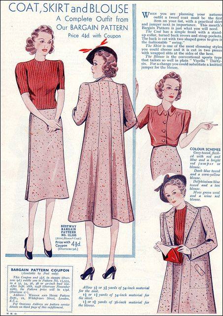 "Vintage ""Woman & Home"" 1938 Pattern from ""Woman & Home"" Sepember 1938."
