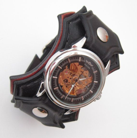 Steampunk Wrist Watch, Man Wrist Watch, Steampunk Leather Watch, Man's Steampunk Watch