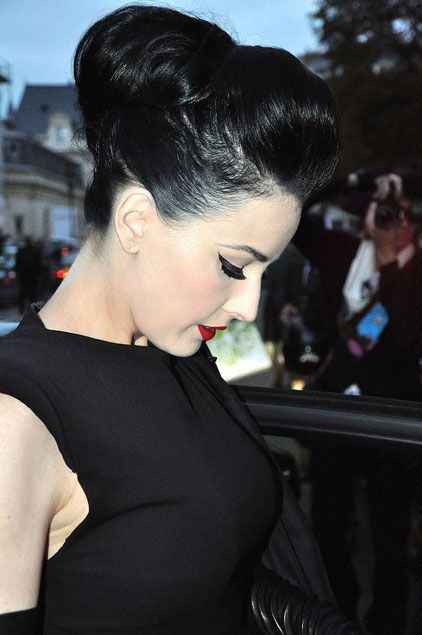 great quiff but the rest down and curly with roses- Dita Von Teese