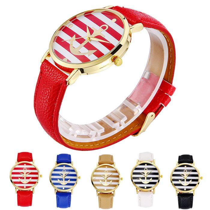 Beautiful stripped anchor watch. Available in a variety of colors, choose your favorite for Only $9.99