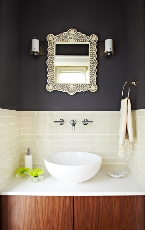 wall mount faucet and mirror