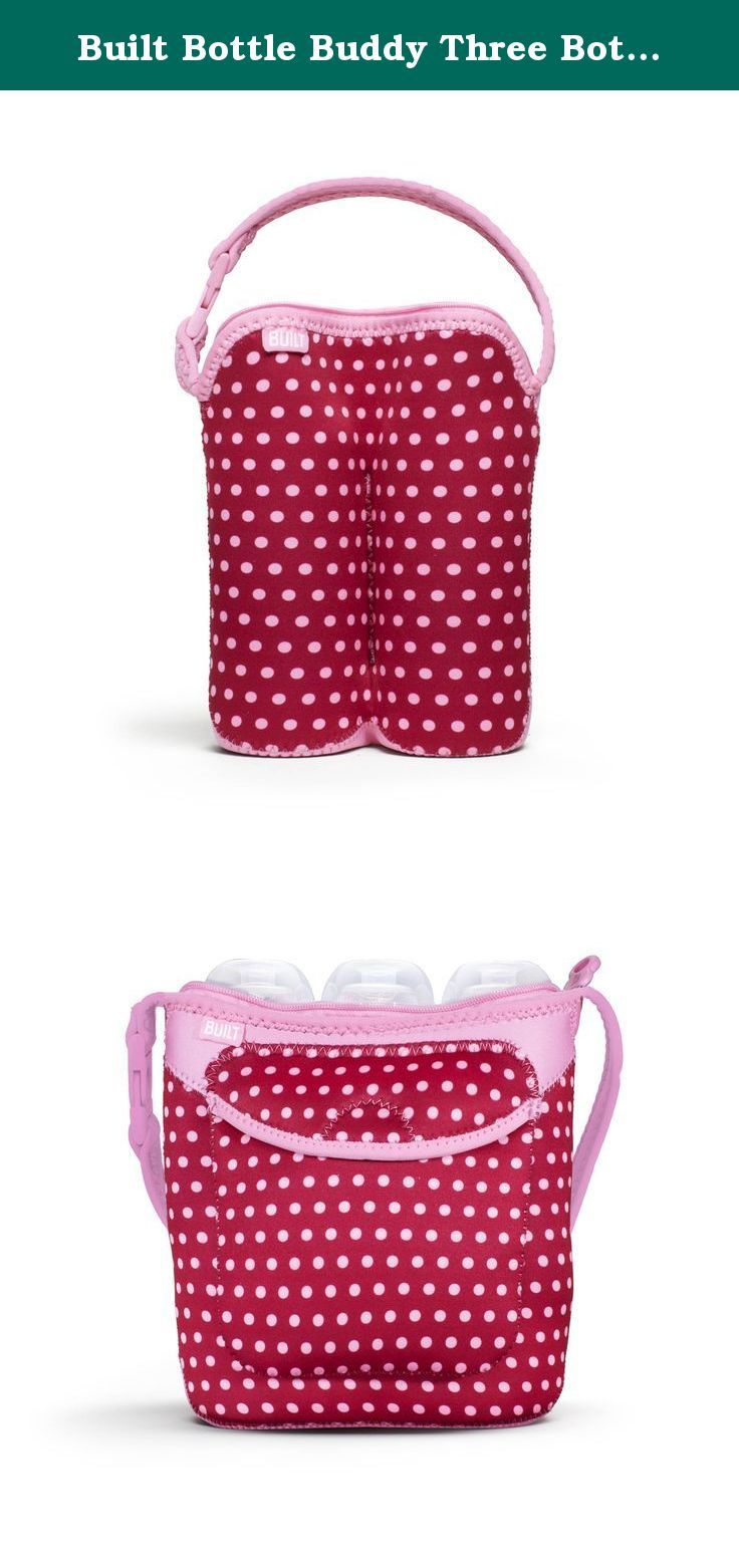 Built Bottle Buddy Three Bottle Tote, In Baby Pink Mini Dots. Anyone that has a little one knows what a chore it is to have everything you need with you at all times. Created out of necessity by the makers of the iconic neoprene lunch bags and totes, this Built bottle buddy three bottle tote, in baby pink mini dots stretches to fit three bottles; baby bottles, Sippy cup, juice boxes whatever you need to haul. The handle opens and closes to attach to a stroller, handbag etc. Made of stain...