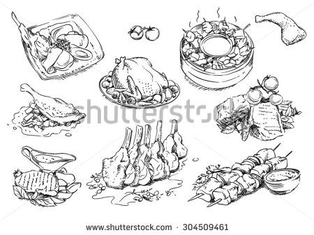Sketches of food: meat - stock vector