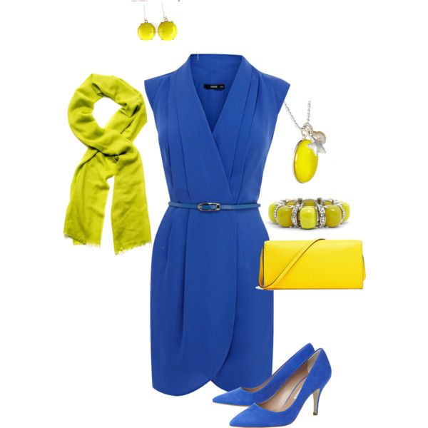 Blue Dress w. Yellow Accents Outfit by hread on Polyvore