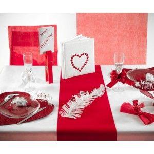 Chemin de table floqué rouge intissé velours chic en tissu non tissé uni