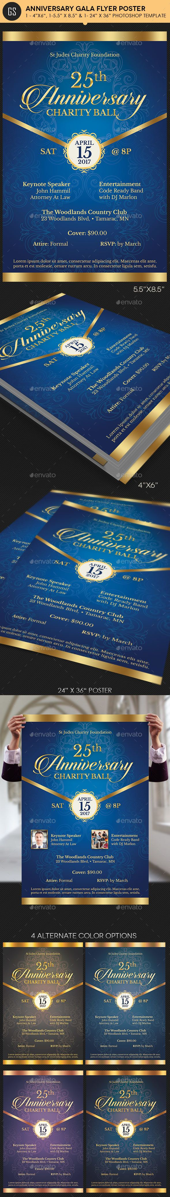 Blue Anniversary Gala Flyer Poster Template 14