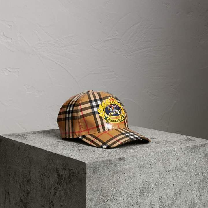 3736c3583f9 Burberry Archive Logo Coated Vintage Check Baseball Cap ...