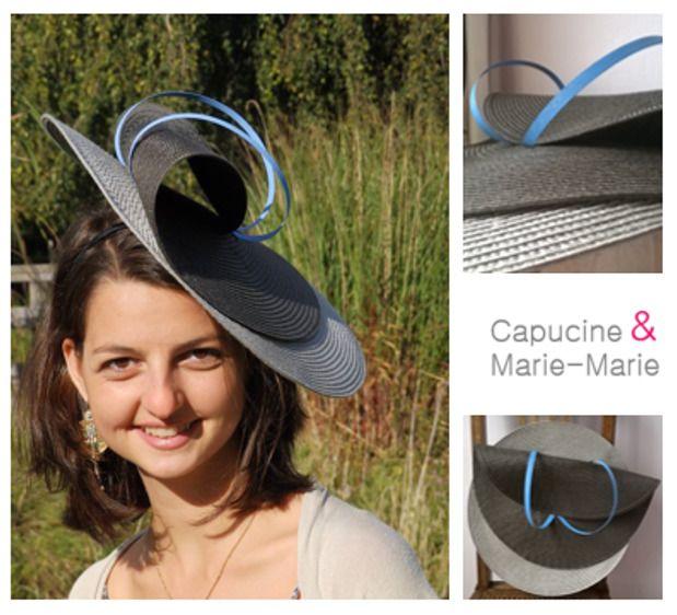 Chapeau/Bibi Mariage gris beige et joncs bleu ciel - les chapeaux de Capucine & Marie-Marie