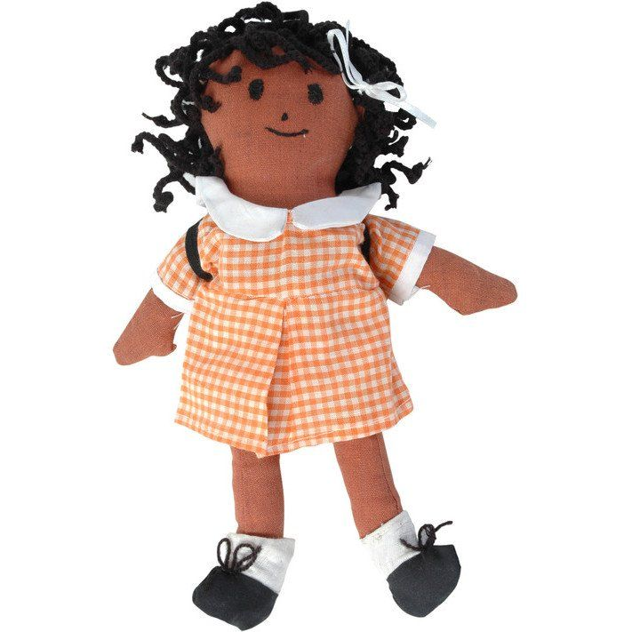 All dressed up and ready for her first day at school! This darling, hand-sewn doll features a gingham school uniform, tie up shoelaces, braided hair and most importantly, a backpack for all of her school supplies. Look for her little blank notebook inside!