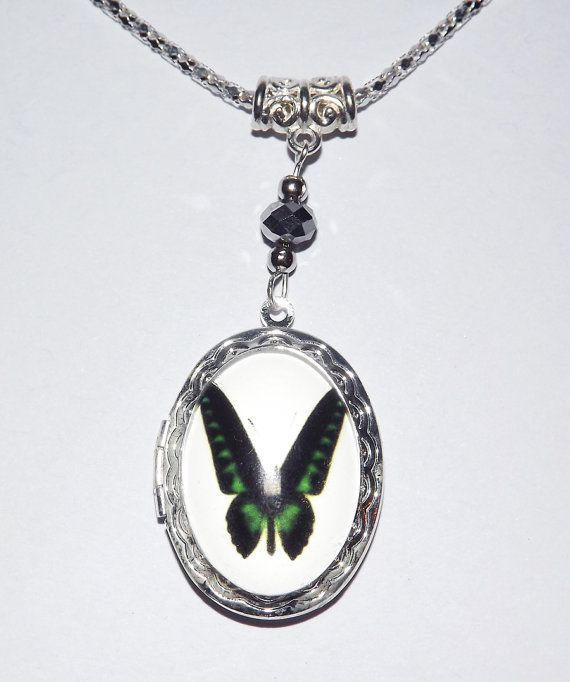 Cabochon Locket Necklace  Dark Butterfly  FREE UK by KasumiCrafts