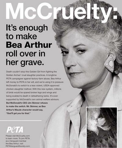 66 best peta images on pinterest animal rights animal for Why did bea arthur leave golden girls