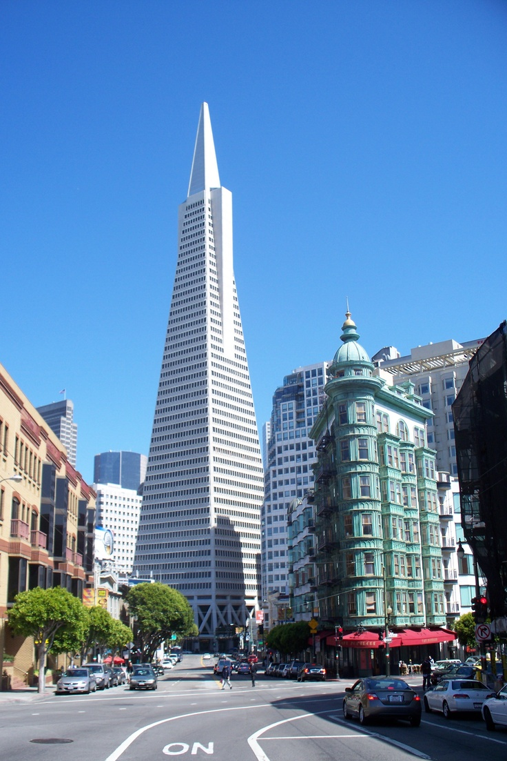 1906 Sentinel building & 1969 Transamerica Pyramid, Financial district SF