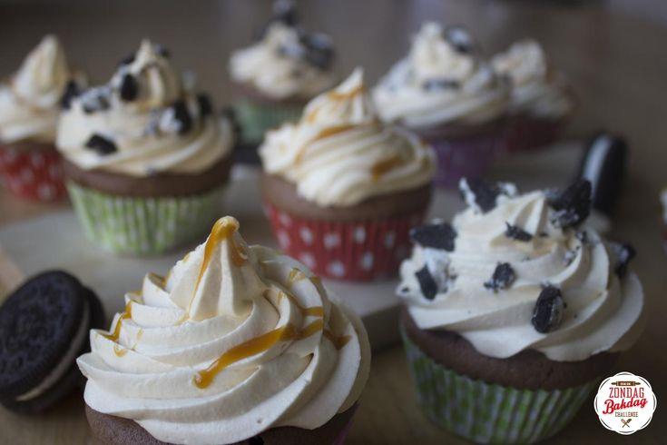 Challenge 2 van de Zondag Bakdag: salted caramel cookie cupcakes!