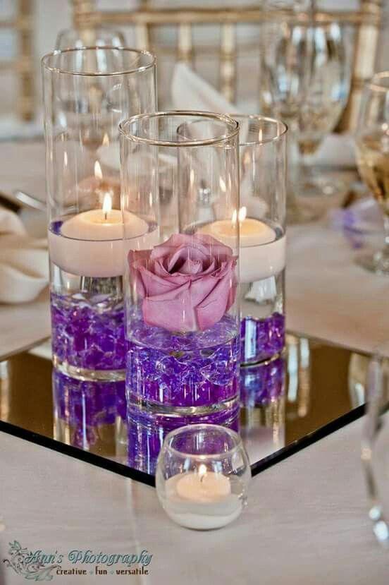 Centro de mesa lila, morado