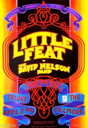 Little Feat Orig Concert Poster Signed by Randy Tuten David Nelson Fillmore