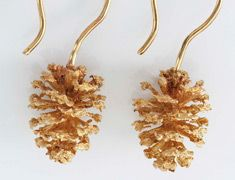 14k Yellow Gold Organic Cast Pinecone Earrings Http://www.organicmetalgallery.com