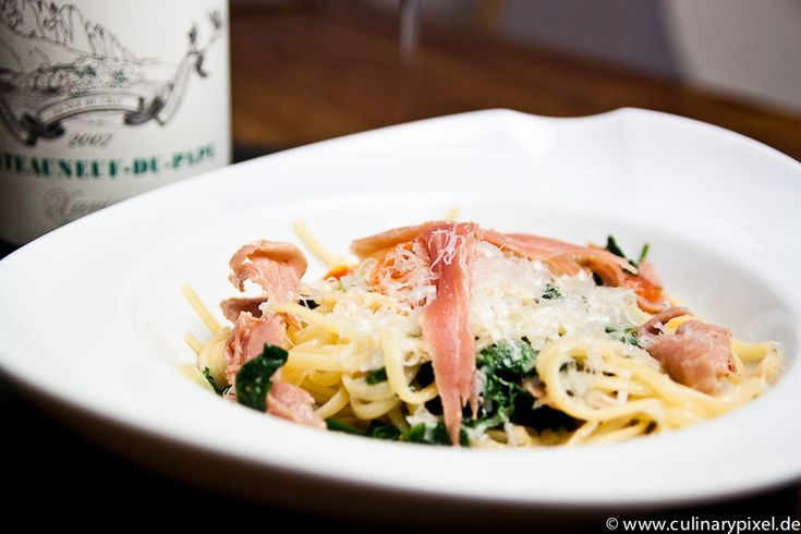 Pasta mit San Daniele Schinken & frischem Spinat