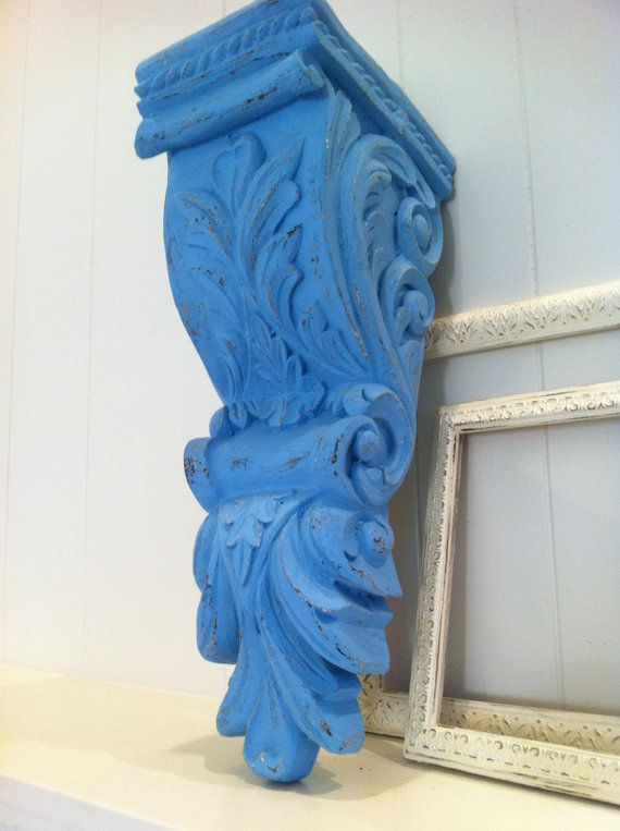 Upcycled Painted Vintage Resin Wall Ledge Shelf Blue Distressed Ornate Scroll Design Home Decor
