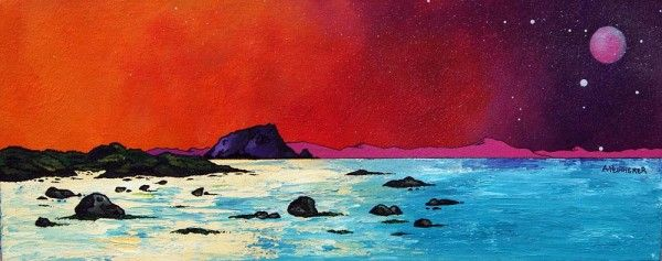 An original painting and prints of The Bass Rock, North Berwick, Scottish East Coast. Original mixed media painting in acrylic paint, spray paint, oil paint and acrylic ink on box canvas. Original canvas painting - 76 x 30 x 4cm (REF: ED12) A range of framed, unframed and mounted prints are available - See more at: http://www.scottishlandscapepainting.co.uk