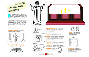 What items does the priest use at the altar during Mass? This Catholic activity is a fun way for kids of all ages to learn about the Eucharist.