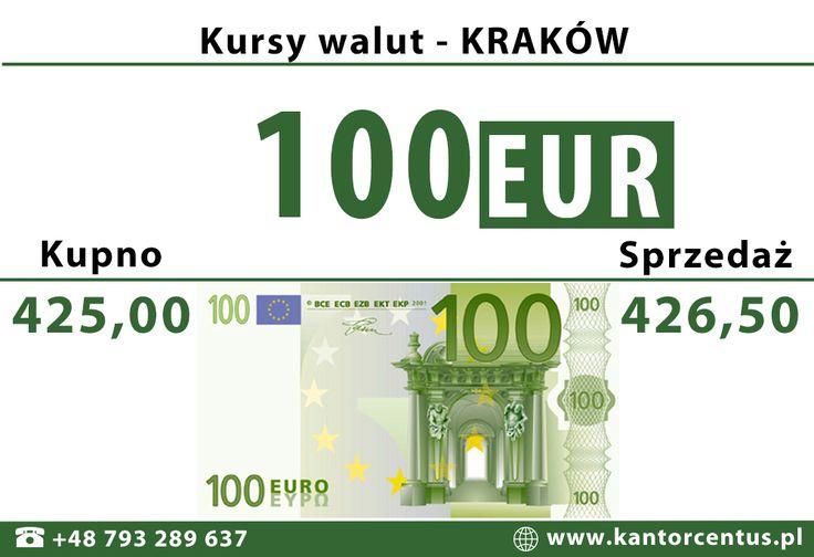 Aktualny kurs wymiany Euro znajdziecie Państwo zawsze na naszej stronie internetowej - zapraszamy!  http://www.kantorcentus.pl/ ul. Długa 48/23  31-147 Kraków