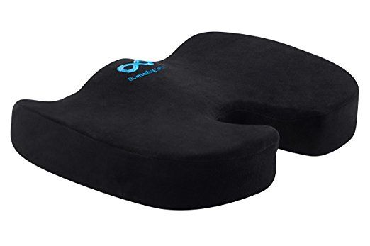 "(CDN $26.29) Everlasting Comfort 100% Pure Memory Foam Luxury Seat Cushion, ""Lifetime Replacement Guarantee"", Orthopedic Design to Relieve Back, Sciatica and Tailbone Pain, Slip-Proof Grip"