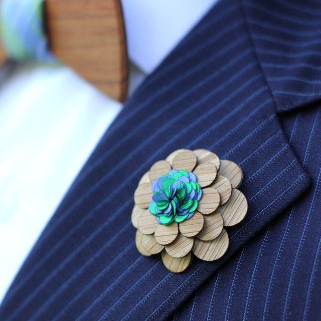 Fancy - Cambridge Wooden Lapel Flower by Two Guys Bow Ties