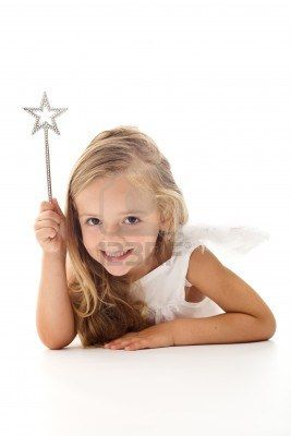 Little angel fairy with magic wand smiling - isolated Stock Photo - 8114350