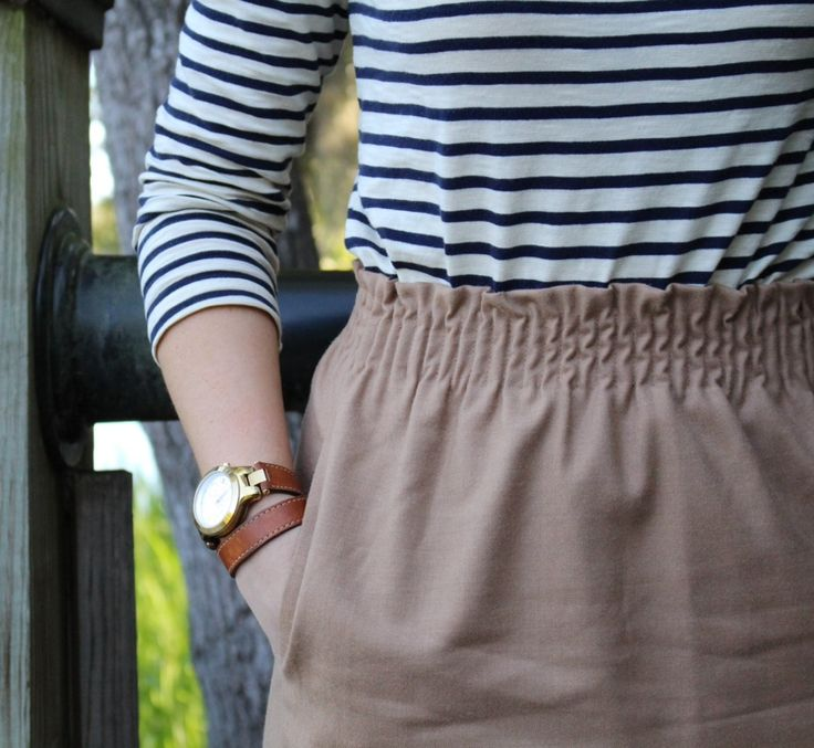 navy stripes with a nude skirt.