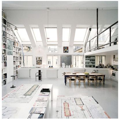 white, light, airy, work space. huge worktables