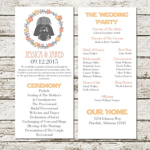 Star Wars Wedding Program Darth Vader Printable Sci Fi Geek Nerd Peach Pink Fl