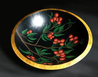 Hand Painted Wooden Fruit Bowl