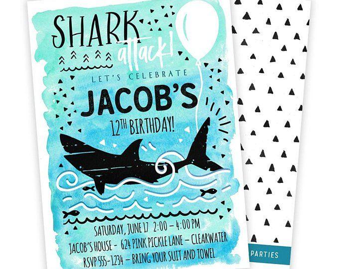 shark invitation shark invite shark party shark birthday shark