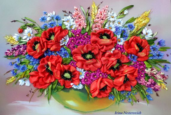 Embroidery picture Embroidered with silk от RibbonEmbroiderySilk